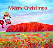 Merry Christmas Teddy drops in on Uluru by Virginia McGowan