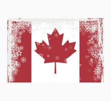 Canadian flag with snowflakes gruge by hibrida13