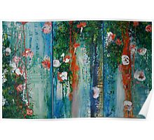 Waterlillies and Willows Triptych Poster