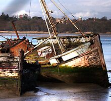 Rotting Hulks at Pin Mill, Suffolk by Christopher Cullen