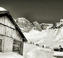 Landscape from a dolomites chalet in the snow by Francesco Malpensi