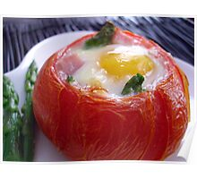 Baked Eggs, Ham & Asparagus in Tomato Cups Poster