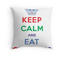 Keep Calm and Eat Cupcakes- primary Throw Pillow