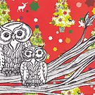 Christmas Owls 1 by kewzoo