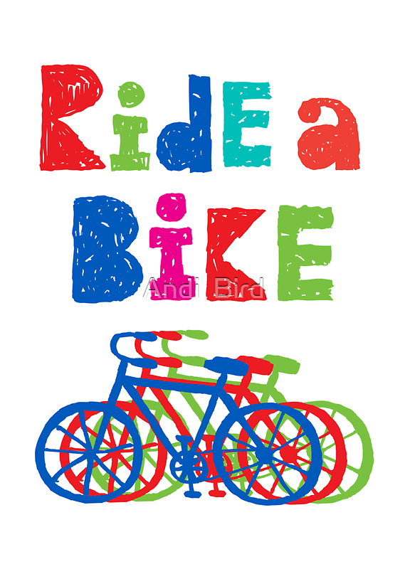 Ride a bike - sketchy - white by Andi Bird