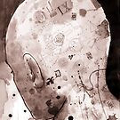 man with illustrated head by Loui  Jover