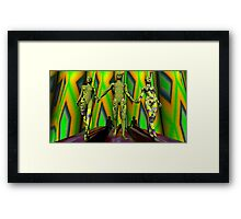 Two  Yellow Fractal Outfits To The Left Framed Print