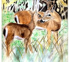 Doe and Fawn in Forest by Elisabeth Haagen
