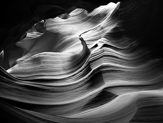 Sandstone Wave ~ Black &amp; White by Lucinda Walter