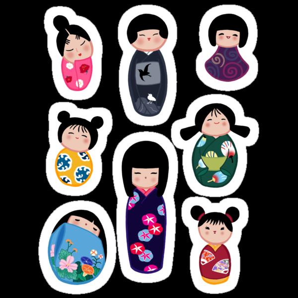 Kokeshi stickers 2 by Joumana Medlej