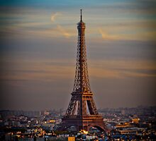 Eiffel Tower with Sunset Magnificance by kbudz