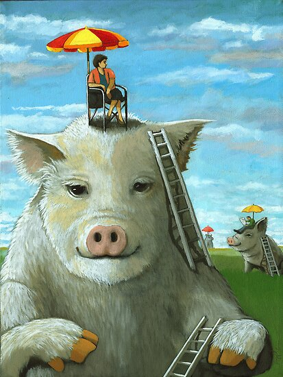 High on the Hog - surreal oil painting by LindaAppleArt