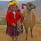 Peruvian lady and llama by Konstantinos Arvanitopoulos