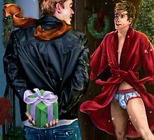 CHRISTMAS SURPRISE, Cheesecake Boy painting by Paul Richmond by Paul Richmond