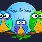 Happy birthday card with owls by walstraasart
