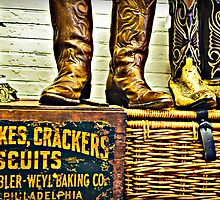 cowboy boots, cakes, crackers, and biscuits by Gerry Daniel