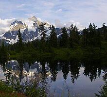mt shuksan over picture lake, wa, usa by dedmanshootn