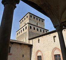 Torrechiara Castle: Honour Courtyard and a tower by presbi