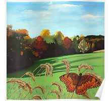 Rolling Hills - fall landscape oil painting Poster