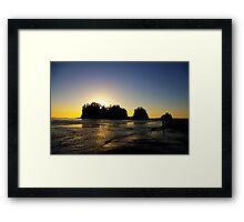 sun setting behind james island, washington, usa Framed Print