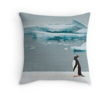 Gentoo on Ice Throw Pillow