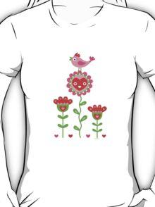 Happy - flowers bird hearts T-Shirt