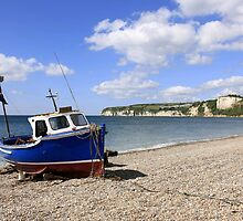 Fishing boat at Seaton Devon England by Chris L Smith