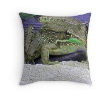 Ribbet.. Bull Frog Throw Pillow