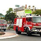 Drouin CFA Trucks in Ficifolia Parade, Drouin, Vic by Bev Pascoe