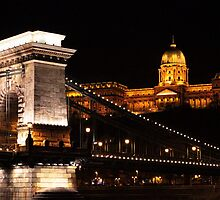 Chain Bridge and Castle in the Night by Mariann Kovats