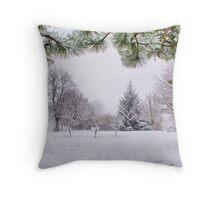 White And Wintery At Peel Park, Bradford Throw Pillow