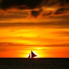 Idyllic Sunset - White Beach on Borracay, Phillipinian Island by Matej Kastelic