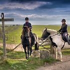 Horse Riders on the South Downs by Eddie Howland