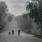 Rainstorm. The family goes during the shower. Rainfall is very strong and umbrella does not help by mike2048
