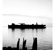 high contrast foggy bay barge Photographic Print