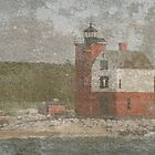 Textured Round Island Lighthouse by John Carpenter