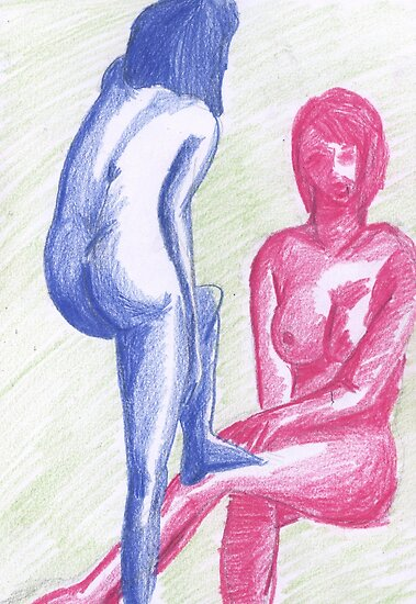 Naked Study in Coloured Pencil by Kyleacharisse