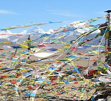 Tibetan Prayer Flags Flying in the Himalayan Wind (Tibet, China) by SkiCC