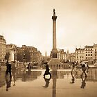 London. Trafalgar Square in the rain. by Alan Copson