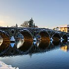 Evening sun shines through the arches of Graiguenamanagh bridge, County Kilkenny, Ireland by Andrew Jones