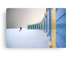 Beach Huts In The Snow Metal Print