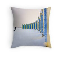 Beach Huts In The Snow Throw Pillow