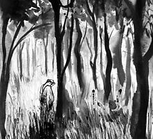 she cried in the woods alone by Loui  Jover