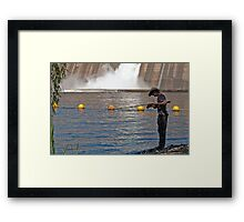 201011021929 Fisherman and base of spillway overflow Murray Victorian side Framed Print