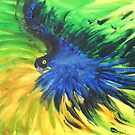 Blue Macaw in Flight by George Hunter