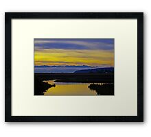 sunset over the olympics Framed Print