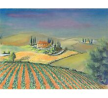 A tuscan landscape in evening light Photographic Print