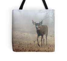 Coming through the fog - White-tailed Deer Tote Bag