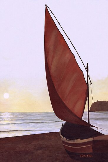 Red Sail in the Sunset by Kate Eller