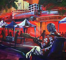 Art playing at the Caloundra Markets by robert (bob) gammage
